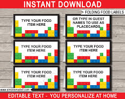 lego party food labels place cards lego theme birthday party