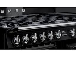 Smeg 110 Gloss Black Induction Smeg Aesthetic Tr4110bl1 Dual Fuel Range Cooker Gloss