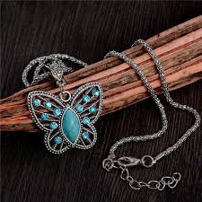 long butterfly necklace images Antique silver pendant crystal butterfly turquoise long necklace jpg