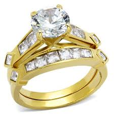stainless steel wedding ring sets gold tone stainless steel cubic zirconia cut bridal women s