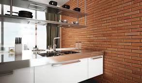 Modern Brick Wall by Interior Decoration Minimalist Modern Style Kitchen With Red