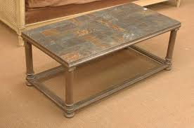 Coffee Table With Metal Base by French Vintage Slate Ardoise Mosaic Coffee Table With Metal Base