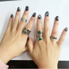 midi ring set cestbella cheap 9pcs or 4pcs vintage silver or blue rings lucky