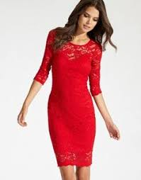 turmec red long lace dress with sleeves