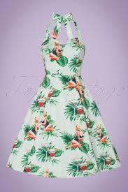 50s lori tropical pin up swing dress in mint