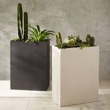 Tall Rectangular Planter by Cityscape Planters Tall Double West Elm
