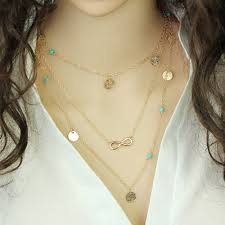 leaf chain necklace images Multi layer blue stone leaf chain necklace necklaces pendants shop jpg