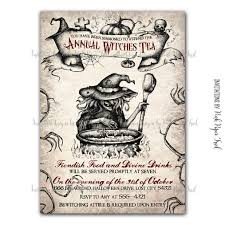 annual witches tea halloween party invitation bewitching