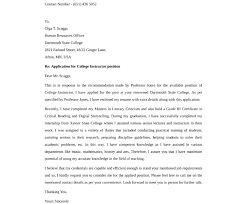 cover letter for college professor position cover letter examples
