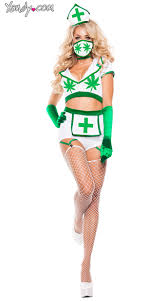 Nurse Costume Halloween Nurse Costume Weed Nurse Costume Green White Plant