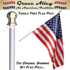 American Flag Price Amazon Com Flag Pole Tangle Free Spinning Flagpole Residential
