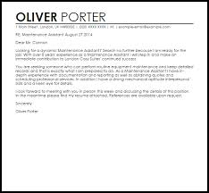 maintenance assistant cover letter sample livecareer