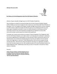 follow up to formal resignation letter from hchc board of