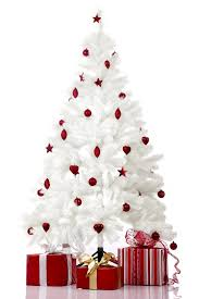 white tree with decorations happy holidays