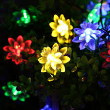 solar powered multi color lotus flower string lights 30 led