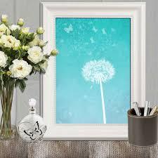 dandelion art print turquoise dandelion wall art turquoise