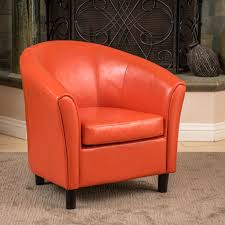 Club Armchair Leather Christopher Knight Home Napoli Orange Bonded Leather Club Chair
