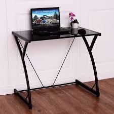 Glass Top Computer Desks For Home Goplus Glass Top Computer Desk Pc Laptop Table Writing Study