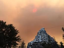 Wildfire Casino On Sunset by Disneyland Looks Apocalyptic Shrouded In Smoke From California