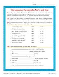 you u0027re and your apostrophe worksheet
