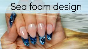 sea foam inlay acrylic design easy nail art tutorial