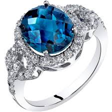 jewelry topaz rings images Shop oravo 14k white gold london blue topaz ring oval checkerboard jpg