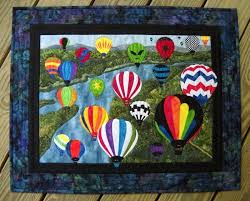 handmade air balloons wall hanging quilt by sue wiltse