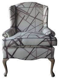 Outdoor Wingback Chair Vintage Wingback Chair In Kelly Wearstler Fabric Contemporary