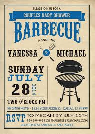couples bbq baby shower invitation barbecue babies shower