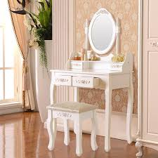 White Vanity Table With Mirror Amazon Com Elegance Vanity Makeup Table Set 4 Strawers Dressing