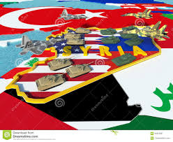 Map Of Syria And Russia Map Of Syria Divided With Usa And Russia Flags With Surrounding