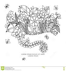 vector illustration zentangl card flowers doodle flowers