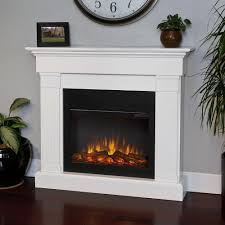 slim line electric fireplace in white
