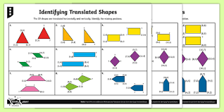 2d shape coordinate translations differentiated activity sheets