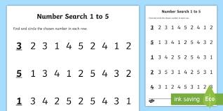 junior infants number search 1 5 activity sheet worksheet