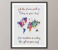 wedding gift map watercolor world map dr seuss quote print wall wedding gift