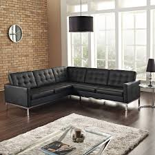 Antique Tufted Sofa by Antique Chrome Metal Based Sectional Couch With Black Leather