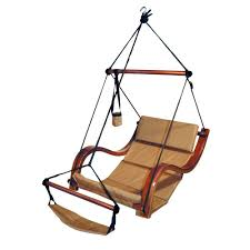 Patio Chair Swing Hammaka Natural Tan Hanging Chair Nami Wood Dowels Footrest