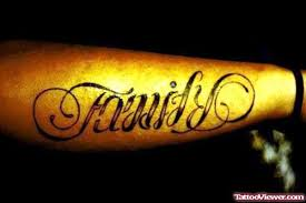 family respect ambigram on right arm viewer com