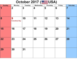 october 2017 calendar with usa holidays free design and templates