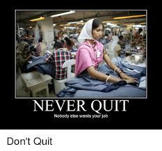 Quit Work Meme - never quit nobody else wants your job don t quit demotivational