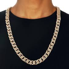 big gold necklace men images Hip hop bling fully iced out men 39 s electroplated miami cuban link jpg