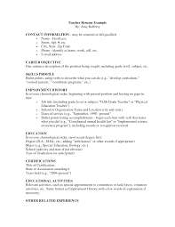 Sample Resumes For Job Application by Teacher Resume Format