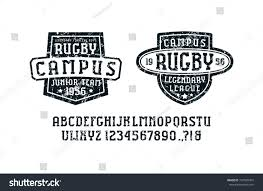 serif font sport style rugby badges stock vector 737598454