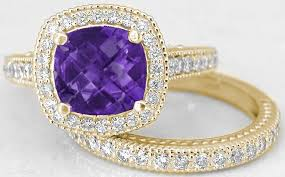 amethyst gold rings images Cushion cut amethyst diamond halo engagement ring and matching jpg