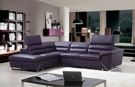 purple leather l shaped sectional sofa and white fur rug for