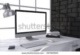 bureau d ontable modern office interior desk computer stock illustration
