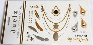 2 packs of assorted gold silver metallic temporary tattoos