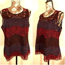ultra pink womens size xl lace overlay top holiday party