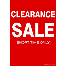 clearance sale sign cards pack 5 pack